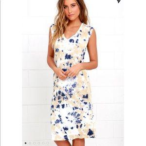 Obey Austin Beige Tie-Dye Midi Dress